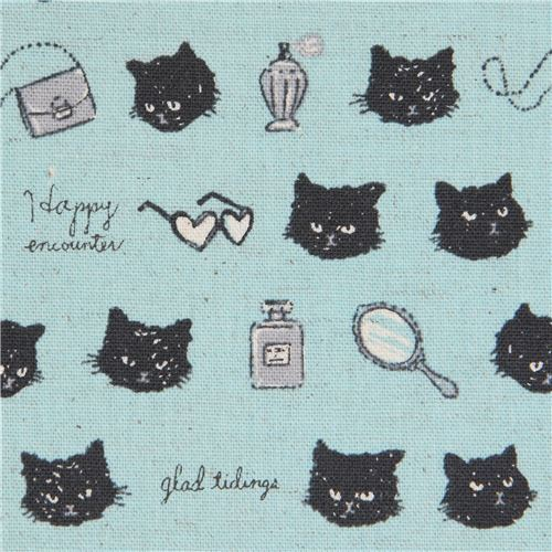 cat animal mirror item Canvas fabric blue by Kokka Japan