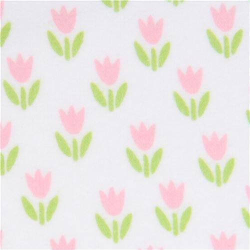 small pink flower flannel fabric Robert Kaufman white Cozy Cotton