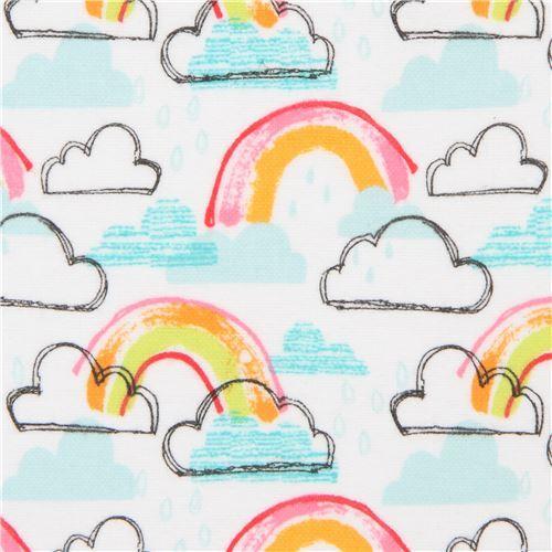 white Michael Miller rainbow flannel fabric