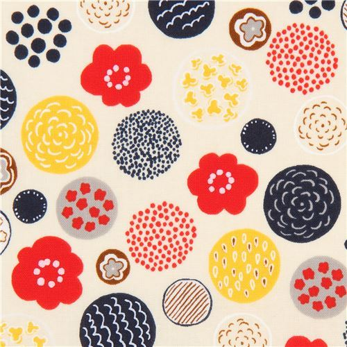 cream Cosmo fabric with circles and flowers