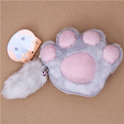 grey Kutusita Nyanko cat paw plush pouch wallet
