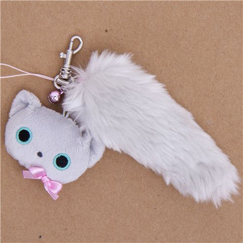 kawaii Kutusita Nyanko grey cat plush cellphone charm