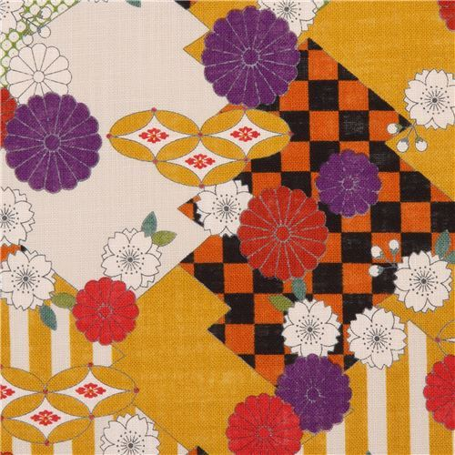 colorful Japanese canvas fabric by Kokka with flowers and shapes
