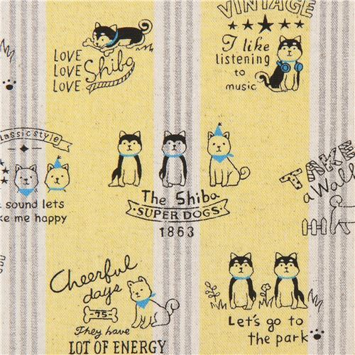 dog canvas fabric yellow Kokka with stripe