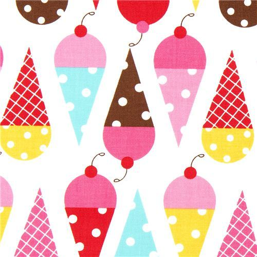 white fabric with ice cream cone by Robert Kaufman