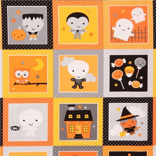 cute Riley Blake fabric pumpkin ghost witch square dot Ghouls and Goodies