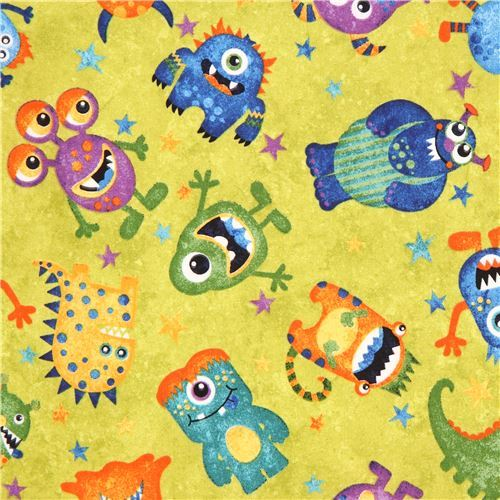lime green fabric colorful monster by Northcott Stonehenge Monsters