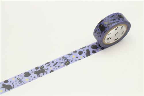 mt Washi Masking Tape purple deco tape black cat ghost star Happy Halloween