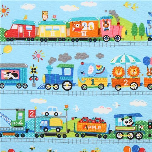 Kokka oxford fabric with animals and trains