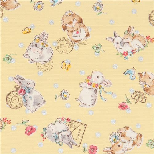 oxford fabric with Easter bunny rabbits by Kokka