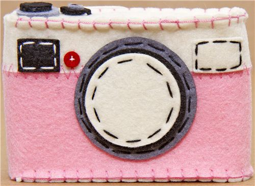 funny pink felt camera case from Japan