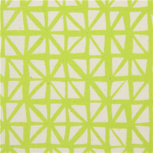 lime green fabric with cream triangle fabric by Cotton and Steel