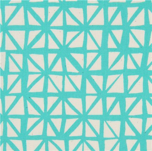 turquoise fabric with cream triangle fabric by Cotton and Steel
