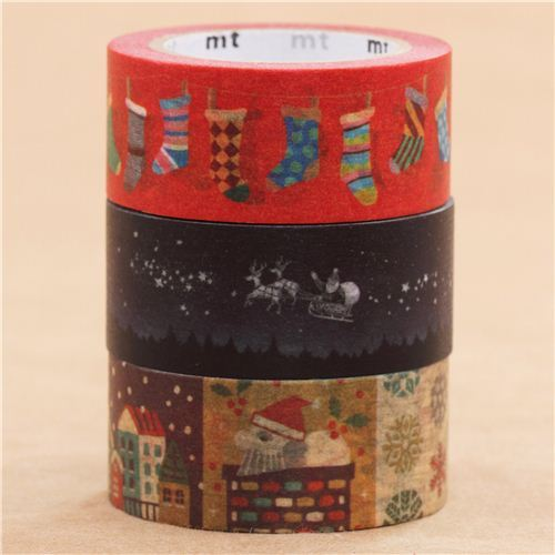 Christmas mt Masking Tape deco tape set 3pcs socks night winter village