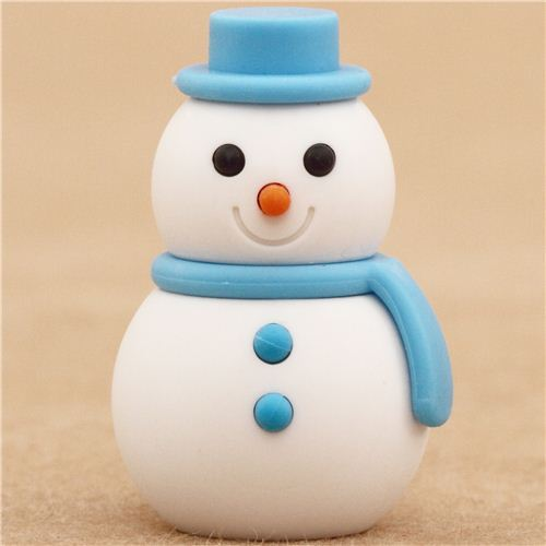 blue Snowman Christmas eraser by Iwako from Japan
