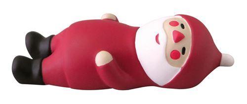 happy Santa Claus lying back relaxing Christmas figurine Japan