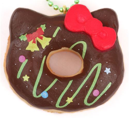small brown Hello Kitty Christmas donut squishy charm for cellphone or bag