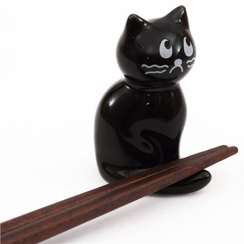 black cat sitting down ceramic chopstick rest bento from Japan
