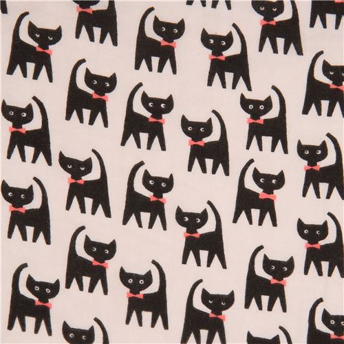 grey double gauze fabric black cat animal from Japan
