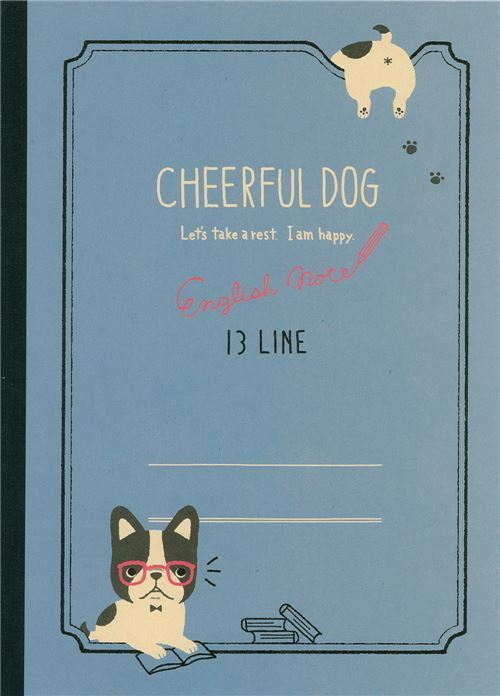 cute blue dog with glasses exercise book