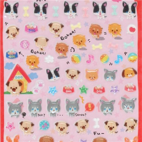 cute hard mini 3D stickers with colorful dog food bone Japan