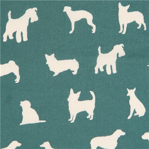 dark green with light cream dog silhouette organic fabric by birch from the USA