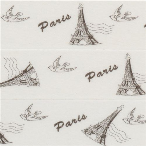 white with Eiffel Tower bird Washi Masking Tape deco tape