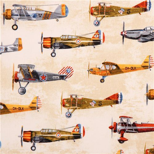 beige Vintage airplane fabric Robert Kaufman Transportation