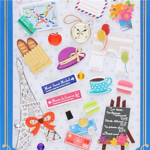 cute Eiffel Tower travel pop out stickers from Japan