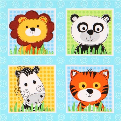 light blue zoo animal square fabric 'Wild Thing' Blank Quilting USA