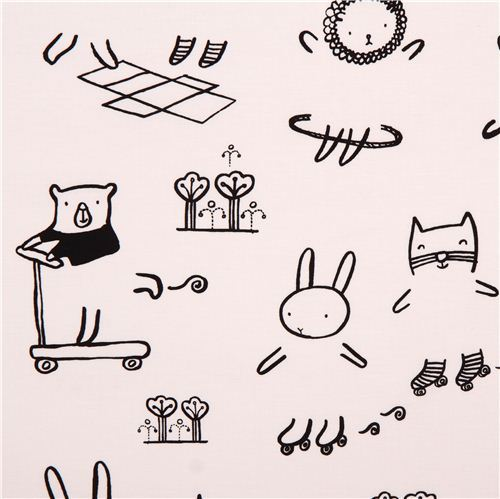 white animal children crafting fabric by Dear Stella USA