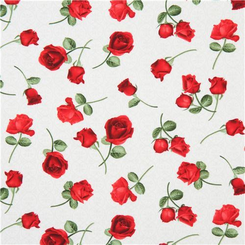 light cream fabric with red rose flower by Timeless Treasures