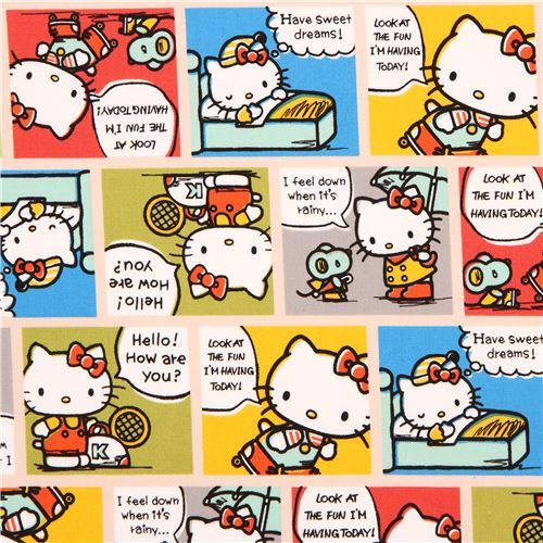 beige Hello Kitty cute colorful comic manga story oxford fabric