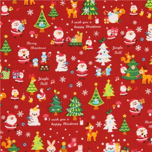 red fabric with Santa Christmas tree deer rabbit from Japan