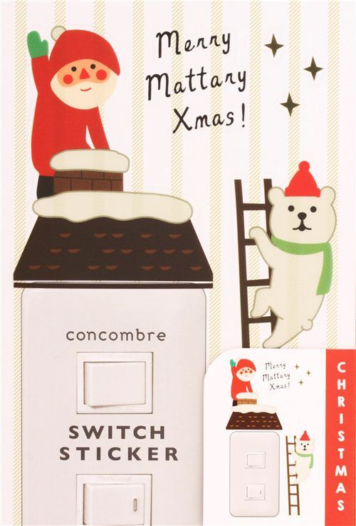 Santa Claus house Christmas wall and light switch stickers
