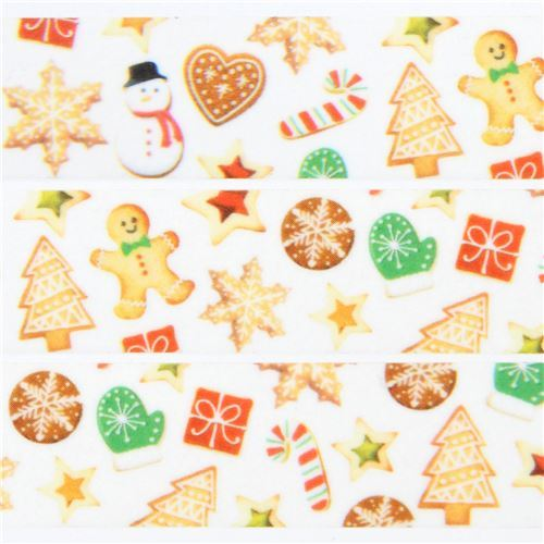 mt Washi Masking Tape gingerbread cookie deco tape Merry Christmas