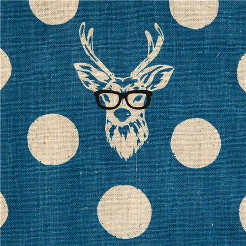 echino laminate fabric Buck stag deer with glasses blue