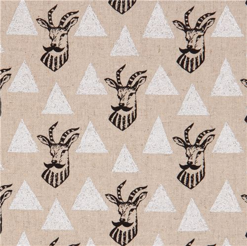 echino natural color canvas laminate fabric antelope silver metallic from Japan