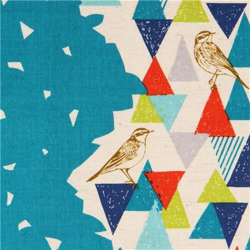 extra wide turquoise echino bird triangle laminate poplin fabric