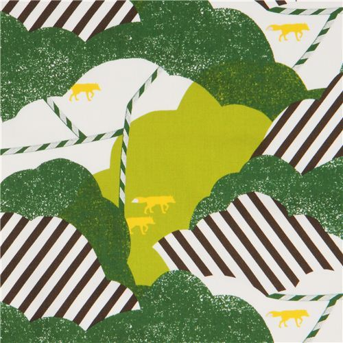 green white cloud fox cotton sateen glitter laminate fabric Kokka