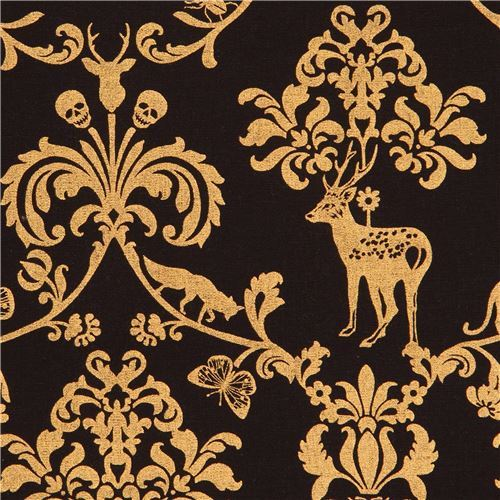 black echino canvas fabric gold metallic animal leaf skull Classic Animals