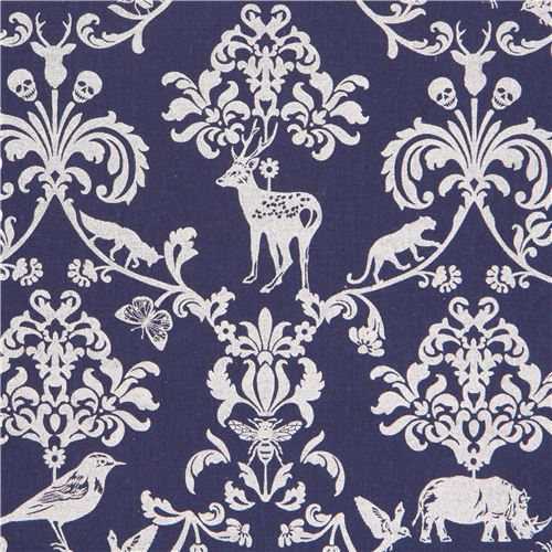 navy blue echino silver metallic animal leaf skull laminate fabric