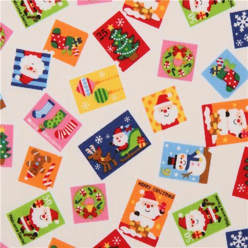 cream-colored Christmas card Santa Claus fabric from Japan