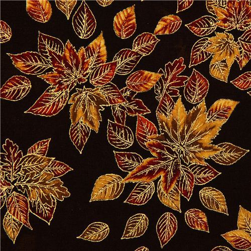 Robert Kaufman golden autumn fabric with leaves