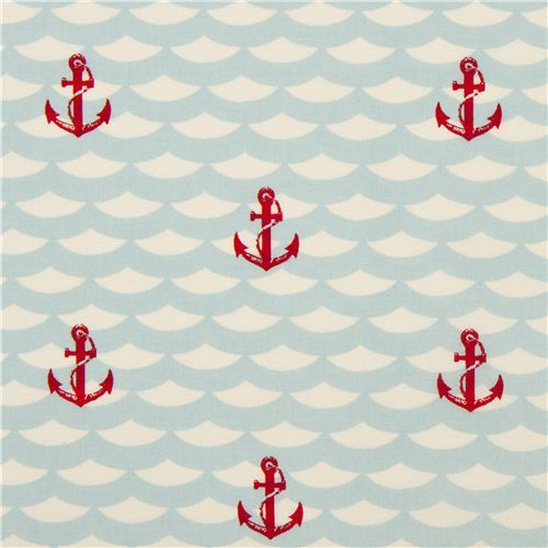 cream maritime birch anchor organic fabric Litte Red Anchor