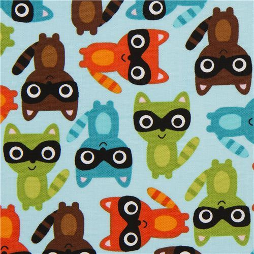 cute light blue racoon fabric by Robert Kaufman