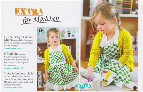 This wonderful apron and the oven glove are sewed with our Kokka and Robert Kaufman fabrics