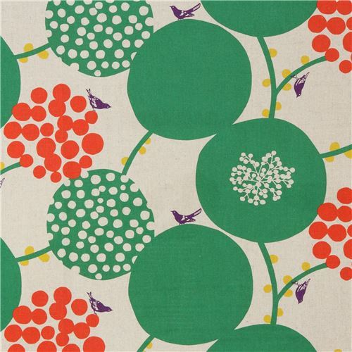 natural color echino canvas fabric with big green circle Standard