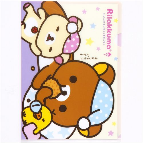 Rilakkuma A4 plastic file folder cookie & sleeping hat