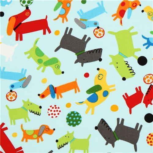light blue dogs and balls fabric by Robert Kaufman